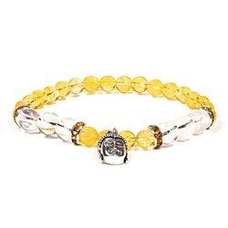 Armband aus Citrin und Bergkristall mit Buddha