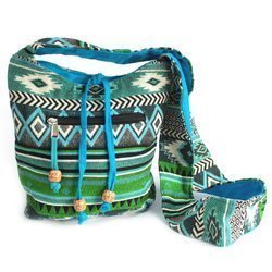 Jacquard-Taschen - blaugrüne Umhängetasche