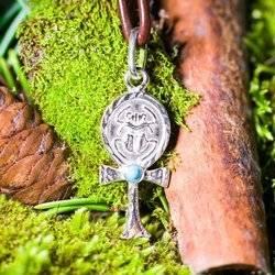 Nilschlüssel mit Skarabäus und Türkis Talisman aus Silber 925