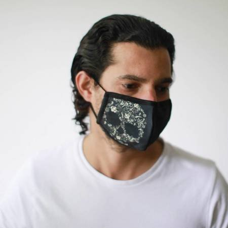 Modische Schutzmaske - Blumen-Totenkopf