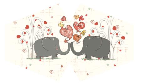 Modische Schutzmaske - Verliebte Elefanten