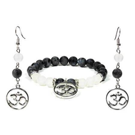 Schmuckset Armband und Ohrringe aus Labradorit und Achat mit OHM